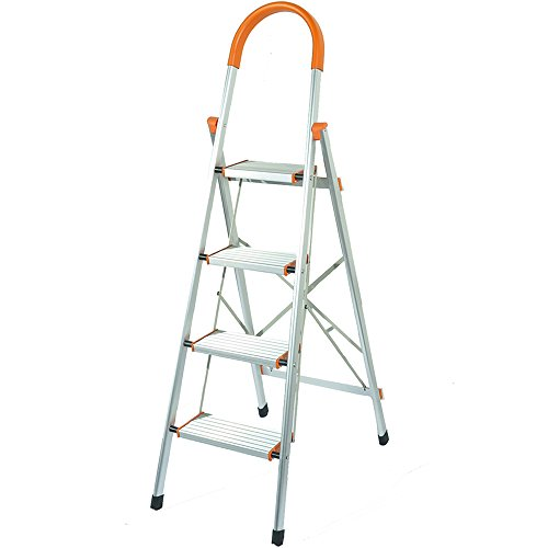 Flatworld Folding Ladder With Platform 4-Step Stool With Hand Grip Aluminum Alloy Household Multi-Position Portable Lightweight