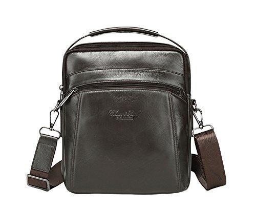 Genda 2Archer Kleine Freizeit Tägliche Handtasche Leder für Männer Kaffee I8FT2