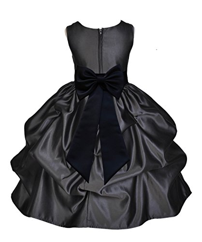 Satin Bubble Black (Black Satin Bubble Pick-up Flower Girl Dress Holiday Dresses Ball Gown 208T 6)