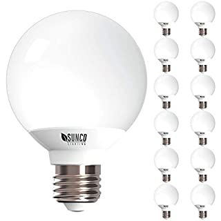 Sunco Lighting 12 Pack G25 LED Globe, 6W=40W, Dimmable, 450 LM, 4000K Cool White, E26 Base, Ideal for Bathroom Vanity or Mirror - UL & Energy Star