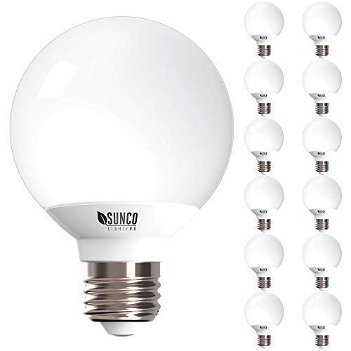 Sunco Lighting 12 Pack G25 LED Globe, 6W=40W, Dimmable, 450 LM, 3000K -