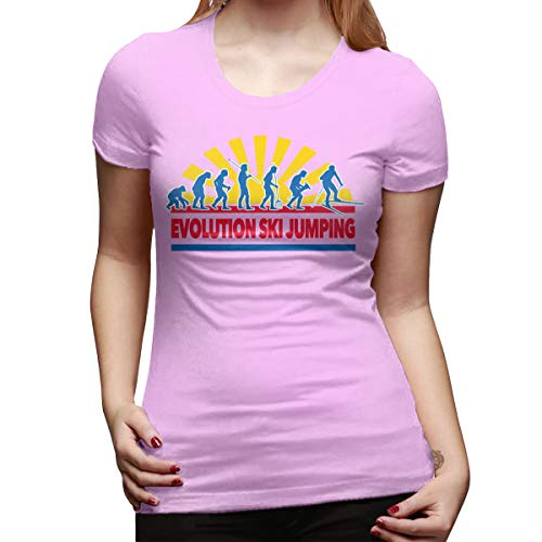 Josephine Joe Born to Jump Evolution Ski Jumping Women's Short Sleeve T Shirt Color Pink Size 33 ()