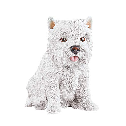 Collections Etc Hand-Painted White Terrier Westie Statue - Realistic Textured Figurine for Yard, Porch, or Any Room in Home from Collections Etc