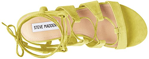Steve Madden Womens chely Gladiator Sandal Yellow Suede