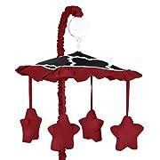 Sweet Jojo Designs Red, Black and White Trellis Print Lattice Musical Baby Crib Mobile
