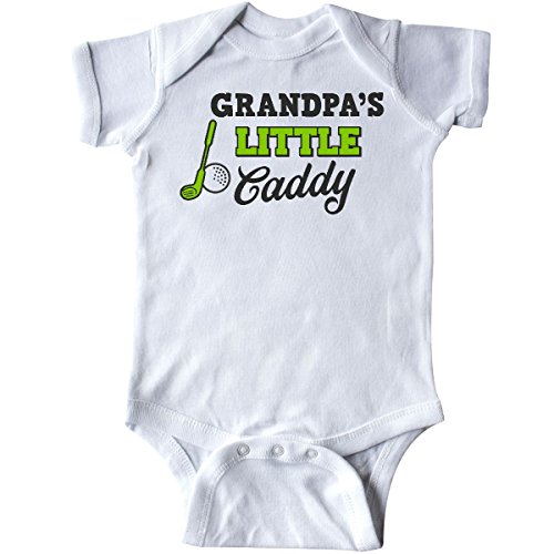 inktastic Grandpas Little Caddy with Golf Club Infant Creeper Newborn White