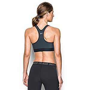 Under Armour Women's Armour Mid Sports Bra, Stealth Gray/Black, Small