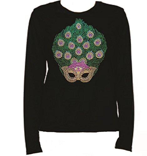 Mardi Gras Mask 3 Rhinestone Ladies T Shirt LR O7W2 (XL, BLACK)