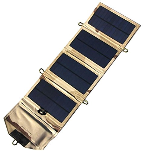 SUKEQ Foldable Solar Charger, NEW 7 Watts Portable Power Solar Panel Battery Charger Backup SunPower Cell Phone Charger (Khaki) ()