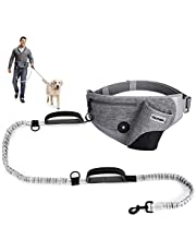 """YOUTHINK Hands Free Dog Leash for Running Walking Jogging Training Hiking, Shock Absorbing Bungee Leash up to 180lbs Large Dogs, Phone Pocket Water Bottle Holder, Fits All Waist Sizes from 18"""" to 46"""""""