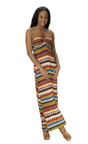 Beaded Halter Maxi Dress ((74827R) Classic Designs Beaded Halter Padded Maxi Dress in Silky DTY Fabric in Multi Rust Size: M)