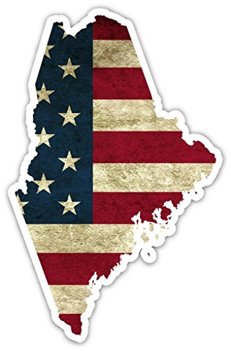 """State Of Maine Shaped US Flag Pro American Worn Out Flag Vinyl Bumper Sticker Decal 3""""X 5"""""""