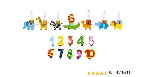 Madera Enanos Goki Cumpleaños Tren Animal Parade con números 1 – 10 y 10 velas: Amazon.es: Juguetes y juegos