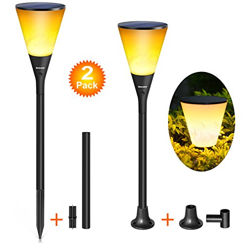Solar Path Lights, Ankway Flame Effect LED Bulb Solar Torch Lights 4 Installation Ways 96 Flaming Light Bulb Dancing Torches Waterproof Ip65 Decoration for Garden Pathway Patio Wall Indoor (2 Pack) - Light Wall Torch