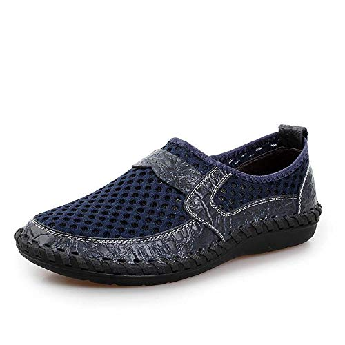 Msanlixian 2019 Breathable Mesh Shoes Patchwork Shoes Men Summer Lightweight Slip-On Comfortable Cool Male Casual Footwear XX-085 Blue 8.5]()