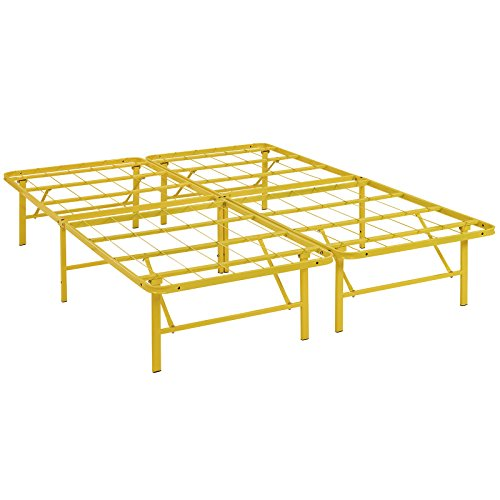 Modway Horizon Queen Bed Frame In Yellow - Replaces Box Spring - Folding Portable Metal Mattress Bed Frame With Storage - Low Profile - Heavy - Yellow Frame
