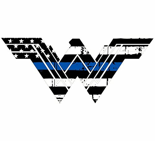 (Evan Decals Thin Blue Line Tattered Flag Style Wonder Woman Window Decal Vinyl Sticker 6