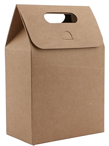 Kraft Paper Take Out Container,Katkitchen 50PCs Kraft Paper Gift Wrap Bags Box with Handle, 10x6x15cm Food Storage Bags for Shopping Party Restaurant Takeouts Bags Pouch Gift Favor Wrap