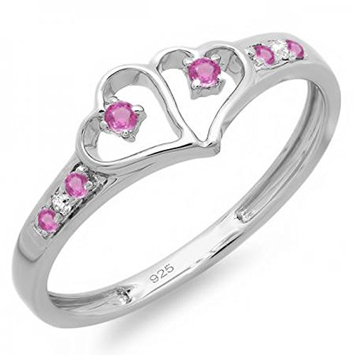 (Dazzlingrock Collection Sterling Silver Round White Diamond & Pink Sapphire Ladies Promise Double Heart Love Ring, Size 7)