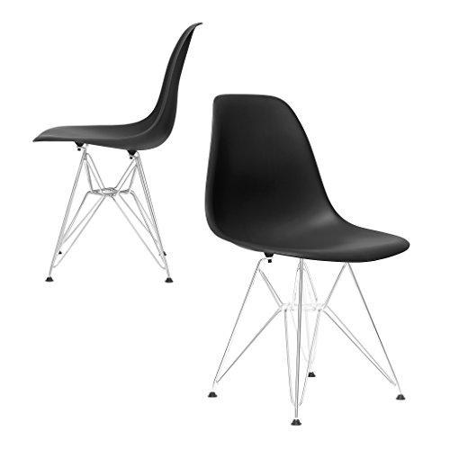 Set of 2 - Chelsea Eames DSR Eiffel (Metal Base) Molded Plastic Dining Chairs (Black)