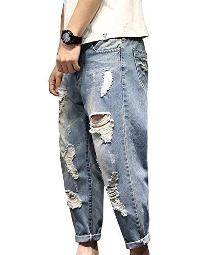 Semplice Vintage Di Pantaloni Stile Uomo Hellblau Da Lanceyy Distrutti Estivi Strappati Jeans Harem qvIw0X