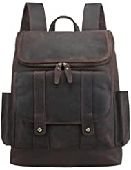 Texbo Vintage Real Cowhide Leather Laptop Backpack Travel Bag Fit 15.6 Inch Laptop