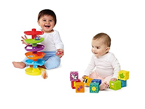 Earlyears Squeak 'n Stack Blocks Baby Toy and Earlyears Whirl 'n Go Ball Tower bundled by Maven Gifts