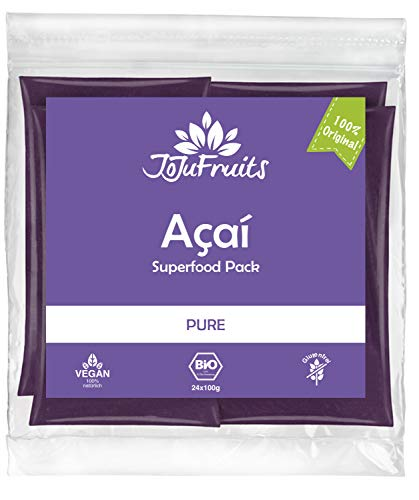JoJu Fruits - Bio Acai Püree - PURE - 24 Smoothie Packs (Vegan, Glutenfrei, Zuckerfrei) Superfood aus Acai Beeren