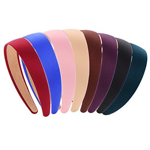 BBTO 8 Pieces Satin Headbands, 1 Inch Wide Hair Band Ribbon Headbands for Women Girl, 8 - Girls Headband Wide