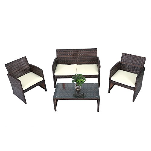 Fully Equipped Cane Double Sofa + Single Sofas + Tea Table + Seat Cushions Kit Brown (Console Rattan Table Set)