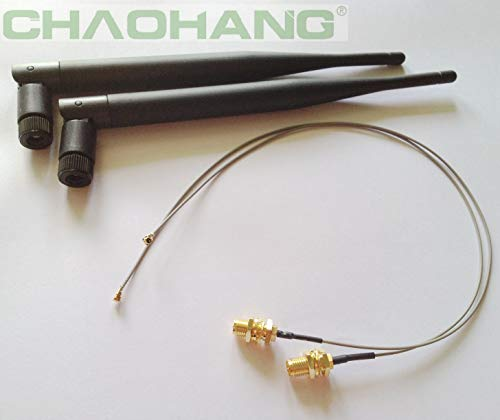 CHAOHANG New 2 x 6dBi RP-SMA Dual Band 2.4GHz 5GHz + 2 x 35cm U.fl / IPEX Cable Antenna Mod Kit No Soldering for Wireless Routers Mini PCIe Cards Network Extension Bulkhead Pigtail PCI WiFi WAN Repeat