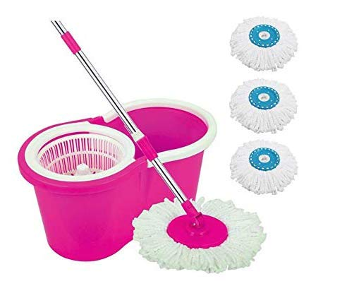 Ketsaal Spin Bucket Mop with 2 Refills & 1 Free Refill- Super Absorbent Refills for All Type of Floors, 360 Degree Spin…