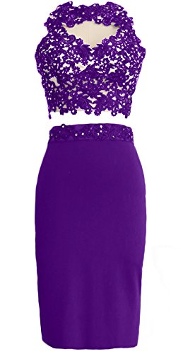 MACloth Gorgeous 2 Piece Jersey Cocktail Dress Short Prom Homecoming Formal Gown Morado