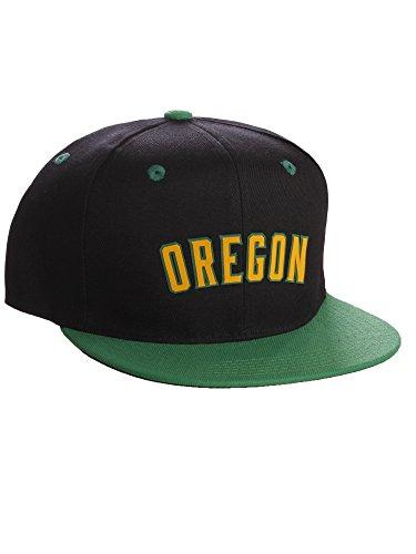 I&W Hatgear Classic Flat Bill Visor USA Cities Snapback Hat 3D Raised Silicon Letters Cap - Oregon Black Green - Green Gold Letters (Ducks Oregon Baseball)