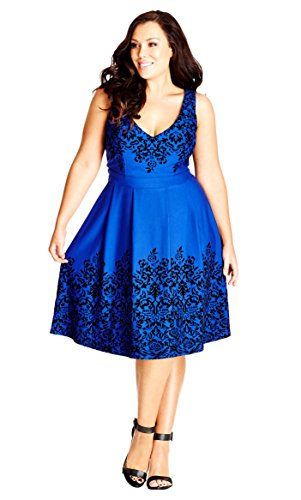 Border Flock Plus Size Fit & Flare Dress in French Blue - Size 20 / L