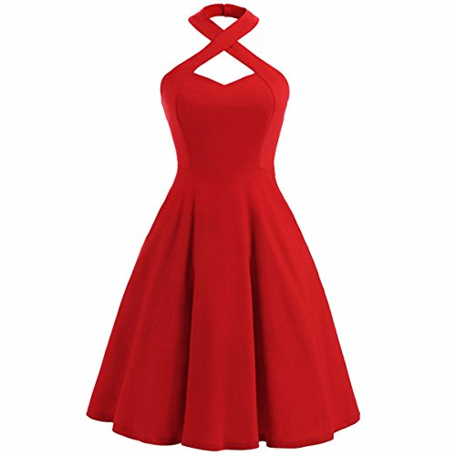 Teen Red M&m Party Dress (Samtree Halter Dress for Women,Vintage Fit and Flare Swing Cocktail Party Dresses(M(US 8-10),Red))