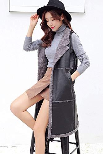 Fourrure Veste Vintage Jacket avec Poches Manches Mode Elgante Fille Gilet Casual Longues Automne Femme Unicolore Cuir sans Gilet Hiver en Synthtique Vest Grey w4wqX6zF1W