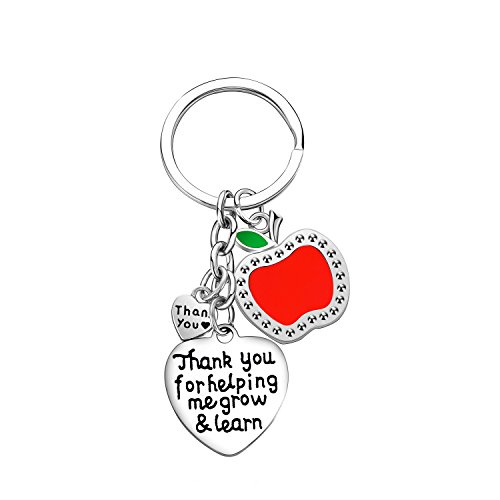 Teacher Keychain Thank You Gifts Thank You for Helping Me Grow and Learn Teacher Appreciation Jewelry ()