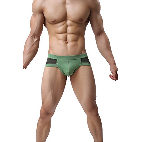 Green Bugle (soutong Mens Mesh Brief Underwear Comfort Cotton Pouch Bugle Enhancing Jockstrap Shorts For Funny Green L)