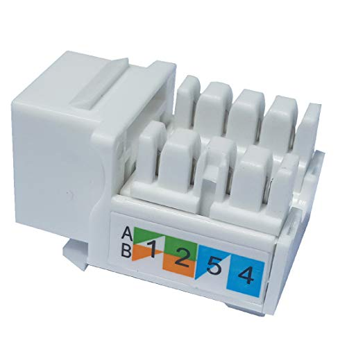 - Keystone Jack RJ45 Ethernet Module Cat6 Network Coupler Punch Down Adapter Compatible Cat 6/5e/5 Connector(10-Pack White)
