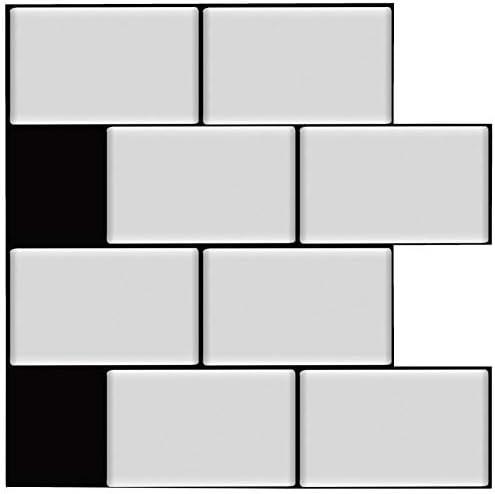 Amazon Com Deco I Amour Peel And Stick Backsplash Tile Sticker For Kitchen Bathroom Subway Tile White With Black Grout 10 X 10 Inch Matte Effect 10 Sheets Home Improvement