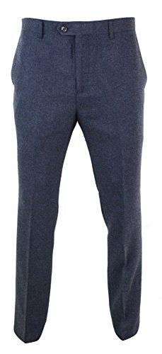 (Cavani Mens Herringbone Tweed Vintage Retro Check Wool Trousers Peaky Blinders Classic Navy-Martez 42)