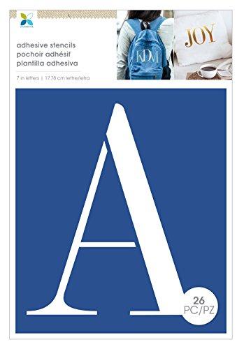 Momenta Serif XL Adhesive Cardstock Alphabet Stencils 26pcs 7''x10'', Blue by Momenta