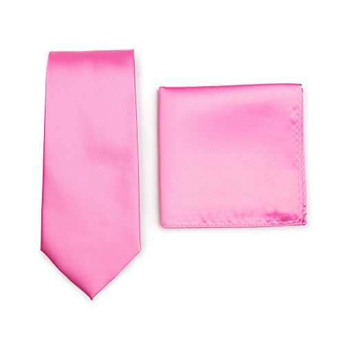 Bow Necktie - Bows-N-Ties Men's Solid Necktie and Pocket Square Set (Carnation)