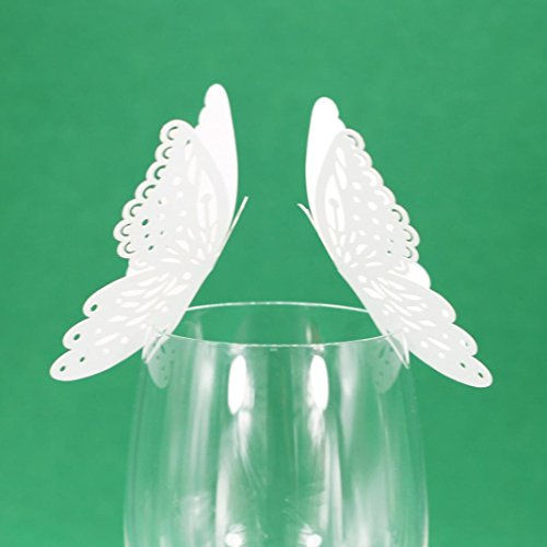 Glass Wine Cup Card,Ecosin New 50 Pcs Butterfly Wine Glass Paper Card for Wedding Party White (White)