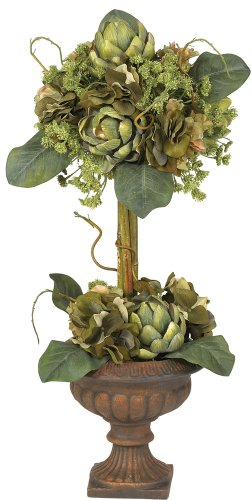 Nearly Natural 4633 Artichoke Topiary Silk Flower Arrangement, Green (Silk Flower Topiary)
