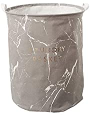 ASSORTED LARGE WATERPROOF LAUNDRY BASKET (GREY MARBLE)
