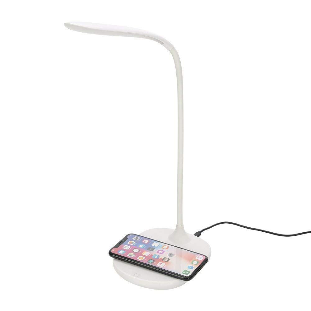 KONSANY LED Eye Table Lamp With Fast Wireless Charger, 7.5W for iPhone X, 8 & 8 Plus, 10W for Galaxy S9, S9+, S8, S7 & Note 8, 3-Level Adjustable Brightness Touch Sensor Switch Desk Lamp With USB Port by KONSANY