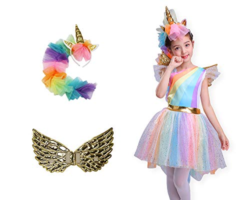 Seasons Direct Halloween Girl's Rainbow Unicorn Costume with Wing and Headpiece (M(8-10))