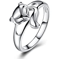 Wholesale 925 Silver Fox Shape Ring Charm Women Fashion Jewelry Size 6-9 (7)